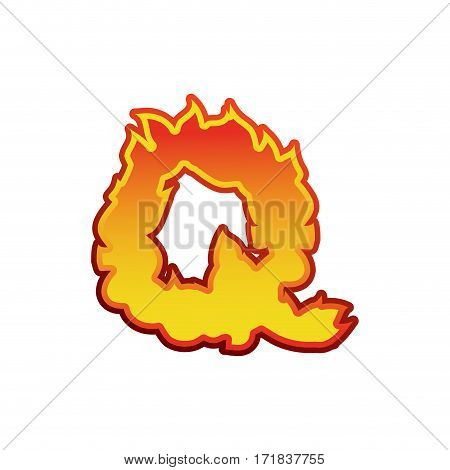 Letter Q Fire. Flames Font Lettering. Tattoo Alphabet Character. Fiery Sign Alphabet