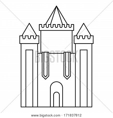 Medieval castle icon. Outline illustration of medieval castle vector icon for web