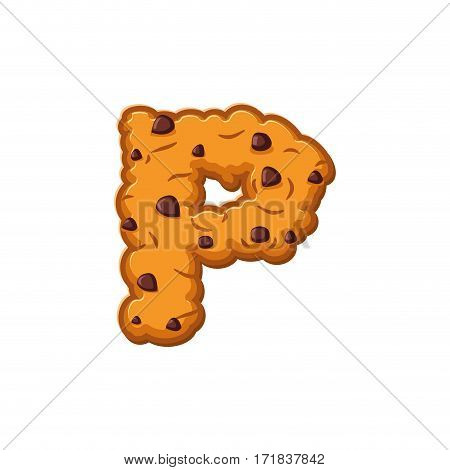 P Letter Cookies. Cookie Font. Oatmeal Biscuit Alphabet Symbol. Food Sign Abc