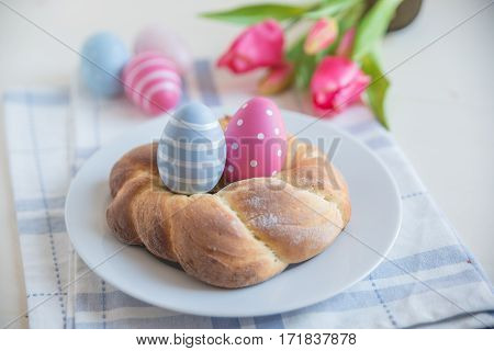 Home made easter bread with easter eggs