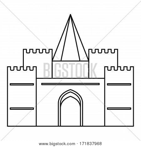 Royal castle icon. Outline illustration of royal castle vector icon for web