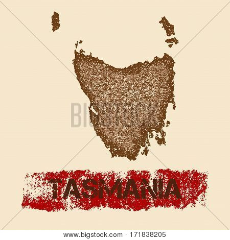 Tasmania Distressed Map. Grunge Patriotic Poster With Textured Island Ink Stamp And Roller Paint Mar
