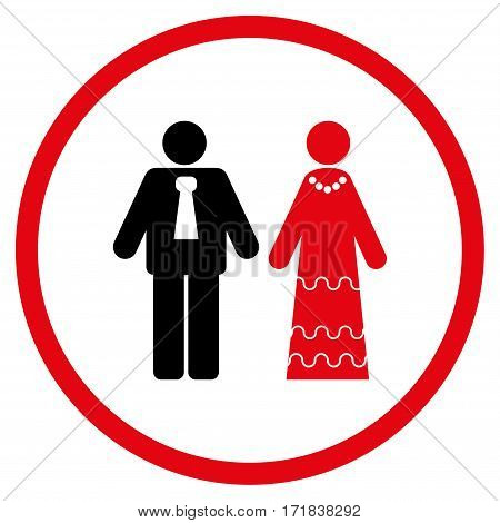 Newlyweds rounded icon. Vector illustration style is flat iconic bicolor symbol inside circle intensive red and black colors white background.