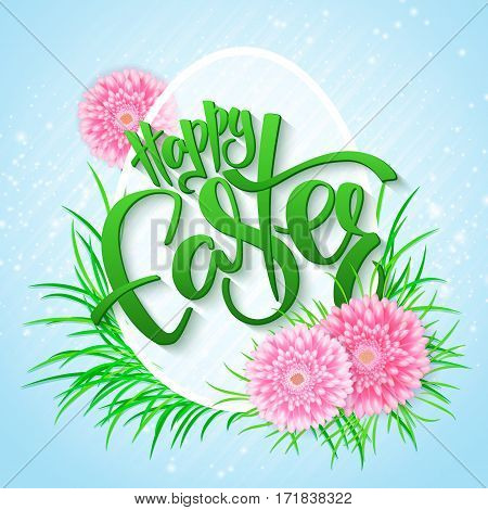 vector illustration of easter greetings card with lettering - happy easter - with chrysanthemum flowers, grass and big egg.