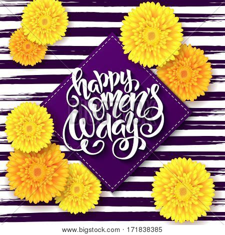 vector illustration of womens day card with lettering - happy 8 march with chrysanthemum flowers and rhombus.