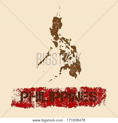 Philippines Distressed Map. Grunge Patriotic Poster With Textured Country Ink Stamp And Roller Paint