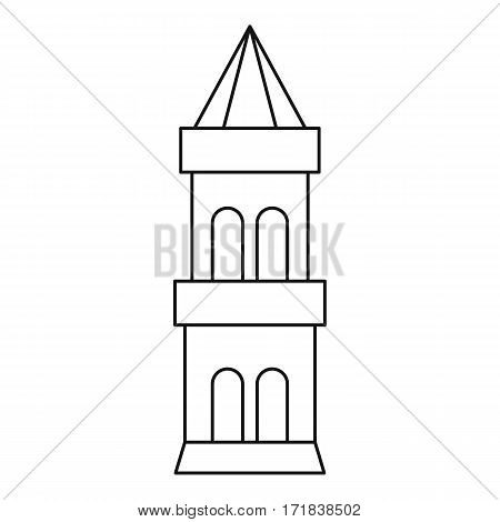 Battle tower guarding the fortress icon. Outline illustration of battle tower guarding the fortress vector icon for web
