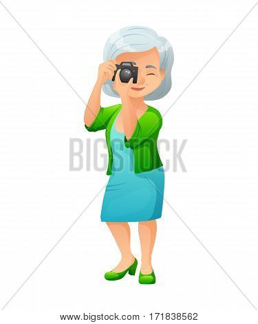 vector illustration of an old active lady with camera, who is dressed in elegant dress and cardigan. She is standing and taking a photo.