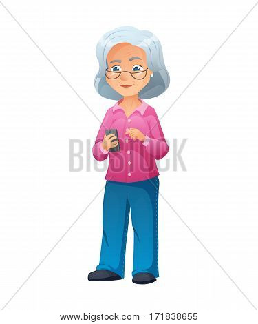 vector illustration of an old active lady with glasses, who is dressed in jeans and shirt. She is standing and surfing the internet on a smartphone.