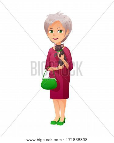 vector illustration of an old active lady with small bag, who is dressed in a elegant dress. She is holds a small dog.