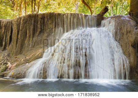 Natural deep forest waterfall natural landscape background