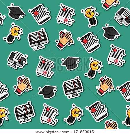 Colored e-education pattern. School background. Vector illustration EPS 10