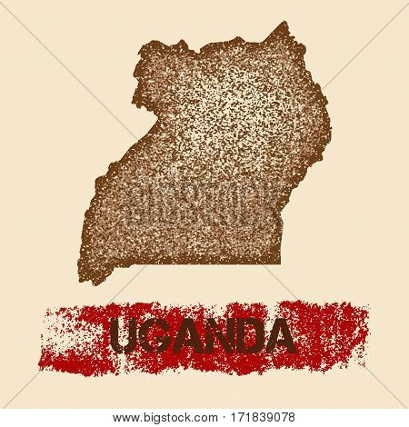 Uganda Distressed Map. Grunge Patriotic Poster With Textured Country Ink Stamp And Roller Paint Mark