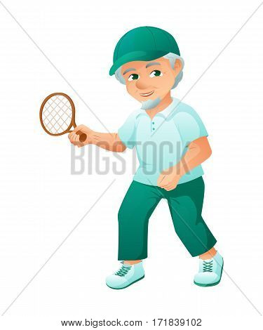 vector illustration of an old active man with beard, who is dressed in a sport dress and sneakers. He is play tennis