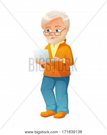 vector illustration of an old active man with glasses, mustache and beard, who is dressed in jeans and cardigan. He is standing and surfing the internet on a netbook