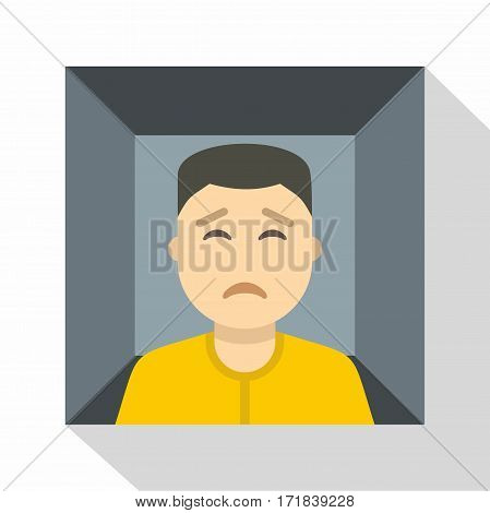 Man trapped in a box icon. Flat illustration of man trapped in a box vector icon for web isolated on white background