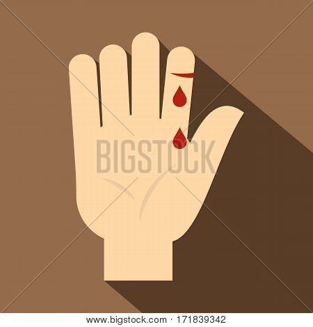Bleeding human thumb icon. Flat illustration of bleeding human thumb vector icon for web isolated on coffee background