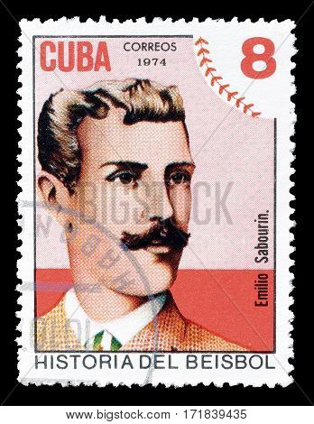 CUBA - CIRCA 1974 : Cancelled postage stamp printed by Cuba, that shows Emilio Sabourin.