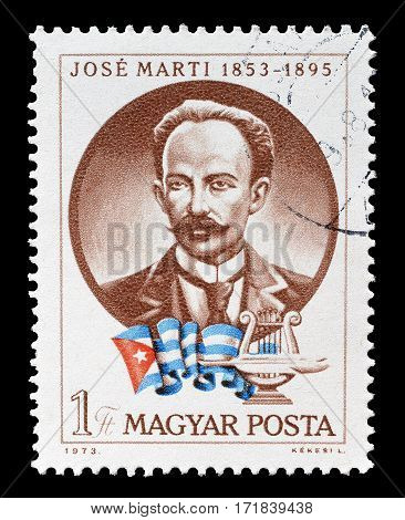 HUNGARY - CIRCA 1973 : Cancelled postage stamp printed by Hungary, that shows Jose Marti.