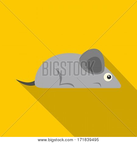 Gray mouse icon. Flat illustration of gray mouse vector icon for web isolated on yellow background