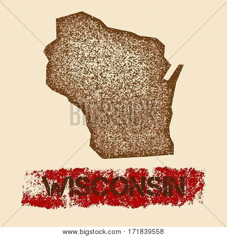 Wisconsin Distressed Map. Grunge Patriotic Poster With Textured State Ink Stamp And Roller Paint Mar