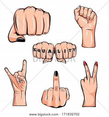 Set of gestures of female hands in a vector illustration isolated on white background