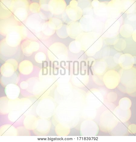 Abstract background with colorful defocused bokeh circles. Christmas background. Celebrating glowing backdrop. Bright vector illustration.