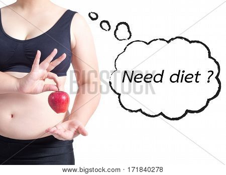 fat woman asian hold apple text bubble need diet healthy concept isolated on white