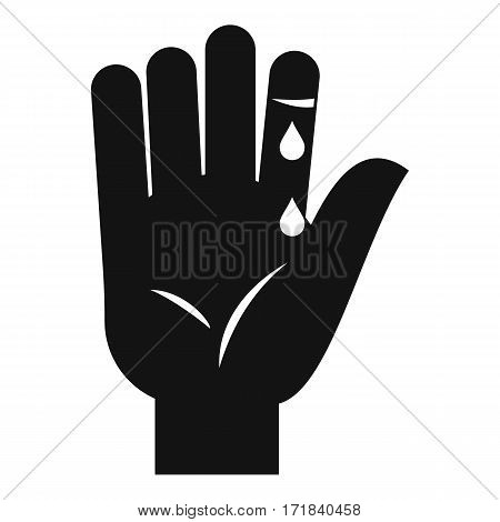 Finger with blood dripping icon. Simple illustration of finger with blood dripping vector icon for web