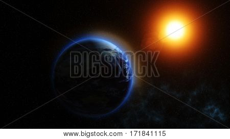Our Planet Earth, The Sun Shines On The Planet Earth As Seen From Space