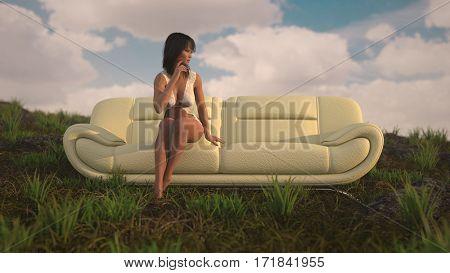3d illustration of the brunette sinnting ohn white leather sofa