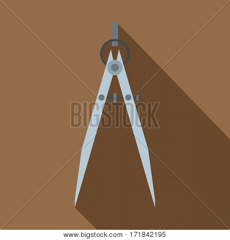 Compass tool icon. Flat illustration of compass tool vector icon for web isolated on coffee background