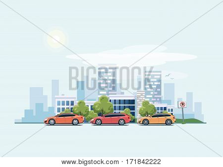 Vector illustration of modern cars parking along the town street in cartoon style. Hatchback station wagon and sedan parked on wrong place with no parking sign. City skyscrapers building office skyline on blue background.