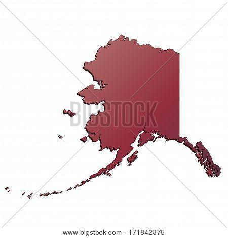 3D Alaska (USA) Autumn Gradient map with shadow
