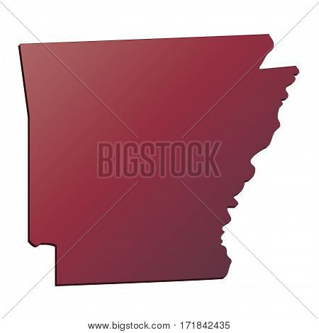 Autumn Gradient Arkansas (USA) State map with shadow