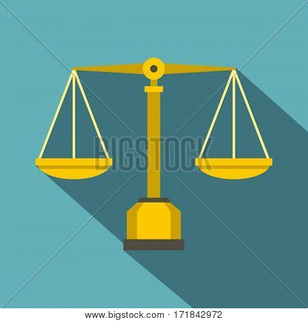 Gold scales of justice icon. Flat illustration of gold scales of justice vector icon for web isolated on baby blue background