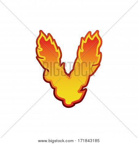 Letter V Fire. Flames Font Lettering. Tattoo Alphabet Character. Fiery Sign Alphabet