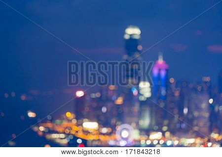 Night blurred lights Hong Kong city aerial view abstract background