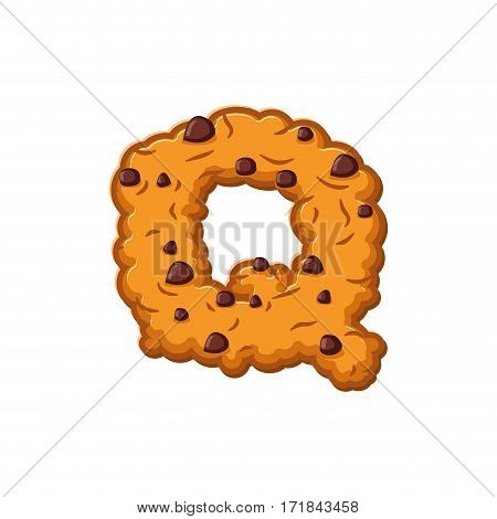 Q Letter Cookies. Cookie Font. Oatmeal Biscuit Alphabet Symbol. Food Sign Abc