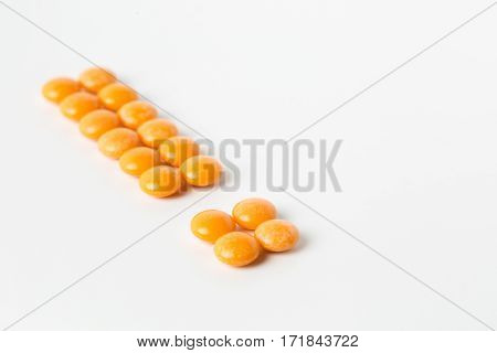 Orange Pill As Mark Of Exclamation