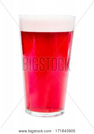 Pint glass of strong, red cherry beer, isolated on white background, alcoholic drink