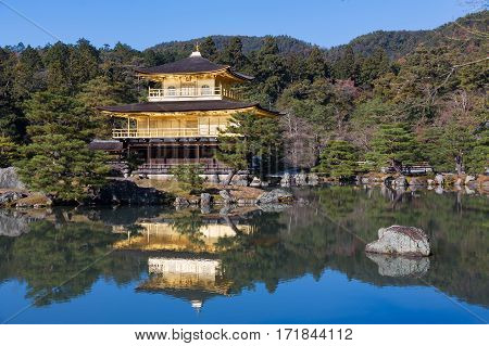 Black and White Golden Pavilion of Kinkaku-ji temple the most famous temple in Kyoto Japan