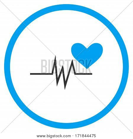 Heart Pulse Signal rounded icon. Vector illustration style is flat iconic bicolor symbol inside circle blue and gray colors white background.