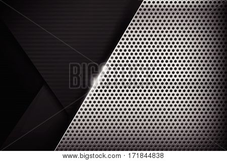 Chrome black and grey overlape and shadow element background texture vector illustration eps10..