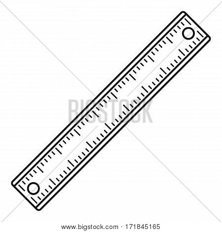 Ruler, rectangular shape icon. Outline illustration of ruler, rectangular shape vector icon for web