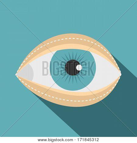 Blepharoplasty icon. Flat illustration of blepharoplasty vector icon for web isolated on baby blue background