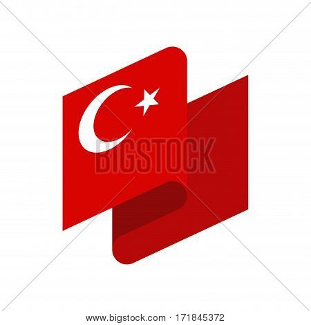 Turkey Flag Ribbon Isolated. Turkish Tape Banner. National Symbol Of Countrys Public