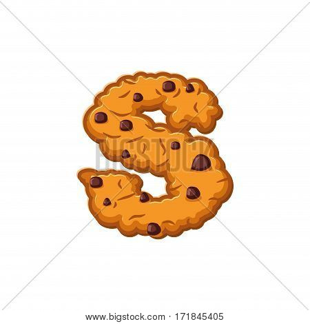 S Letter Cookies. Cookie Font. Oatmeal Biscuit Alphabet Symbol. Food Sign Abc