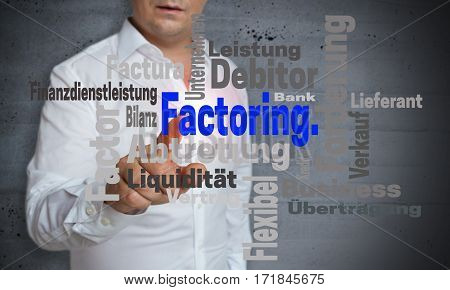 Factoring Wordcloud Touchscreen Is Operated By Man