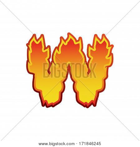 Letter A Fire. Flames Font Lettering. Tattoo Alphabet Character. Fiery Sign Alphabet
